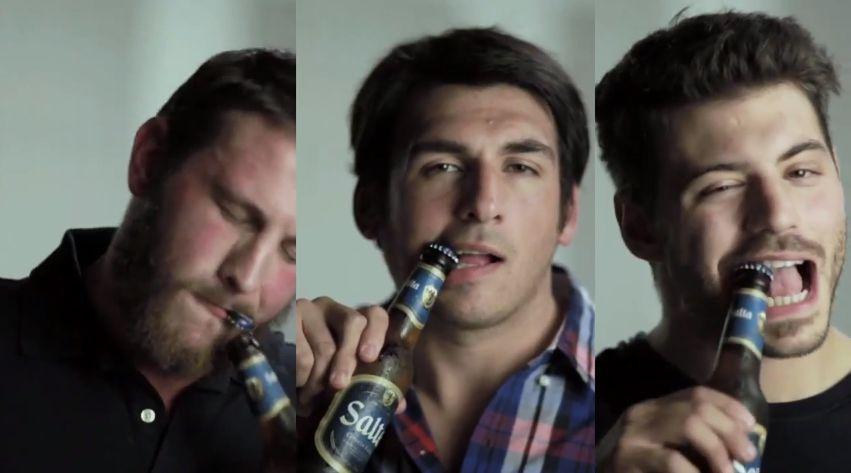 Destapar cerveza con la boca